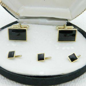 SWANK Signed Gold Tone Faceted Black Glass